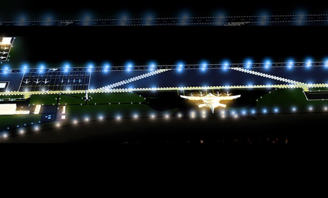 Airport Architectural Visualization – Site & Runway at Night