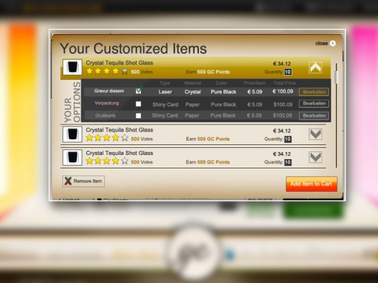 Checkout Customized Products – UI Design